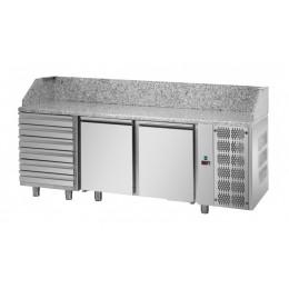Tavolo Refrigerato Pizza GN 1/1 con 2 porte, 6 cassetti neutri e piano in granito