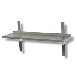 Mensola a parete liscia in acciaio inox profondità 300 mm 1400x300x40h mm