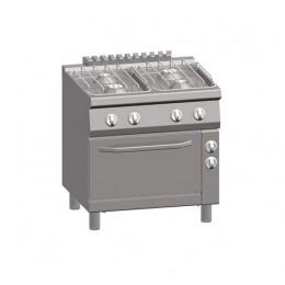 Cucina a Gas 4 Fuochi + Forno Elettrico Ventilato 1/1 GN