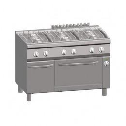 Cucina a Gas 6 Fuochi + Forno Elettrico Statico 2/1 GN + Vano con Porta