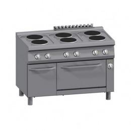 Cucina 6 Piastre Elettriche + Forno Elettrico Statico 2/1 GN + Vano con Porta