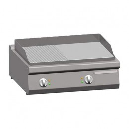Piastra Fry top acciaio inox professionale elettrico 1/2 Liscio 1/2 Rigato Acciaio Dolce Top