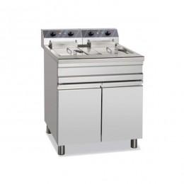 Friggitrice Elettrica professionale per Pub Ristoranti Monoblocco su Mobile 2 Vasche Capacità 18-20 Lt