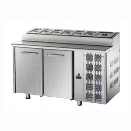 Tavolo Refrigerato Saladette Snack GN 1/1 con 2 porte