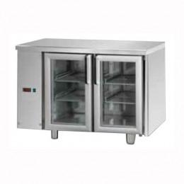 Tavolo Refrigerato GN 1/1 con 2 porte in vetro predisposto per unità frigorifera remota a sinistra