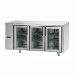 Tavolo Refrigerato GN 1/1 con 3 porte in vetro predisposto per unità frigorifera remota a sinistra