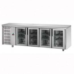 Tavolo Refrigerato GN 1/1 con 4 Porte in vetro e Motore a sinistra