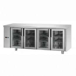 Tavolo Refrigerato GN 1/1 con 4 porte in vetro predisposto per unità frigorifera remota a sinistra