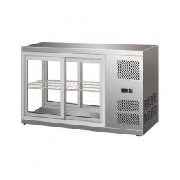 Vetrina refrifgerata da Banco 3 lati vetro illuminazione led dimensioni 1110x515x555h mm capacità 150 lt
