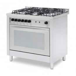 Cucina professionale a gas 5 fuochi con forno elettrico termo ventilato con funzione grill 4 teglie