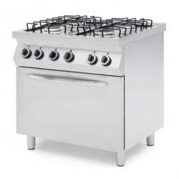 Cucina professionale a gas 4 fuochi con forno elettrico termo ventilato GN 1/1