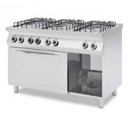 Cucina professionale a gas 6 fuochi con forno elettrico termo ventilato GN 1/1