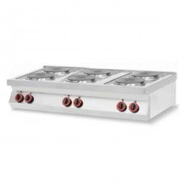 Cucina elettrica 6 piastre da banco in acciaio inox AISI 304
