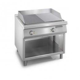 Piastra fry Top elettrico professionale con piastra liscia e rigata su mobile S/90
