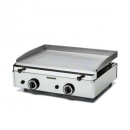 Fry Top a gas in acciaio con 2 bruciatori con superficie della piastra 583 x 395 mm
