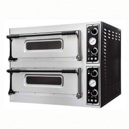 Forno elettrico pizzeria per pizza meccanico 2 camere interne da 720x720x140h mm - 4+4 pizze - PORTE IN VETRO