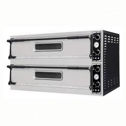 Forno elettrico pizzeria per pizza meccanico 2 camere interne da 1080x720x140h mm - 6+6 pizze - PORTE IN VETRO