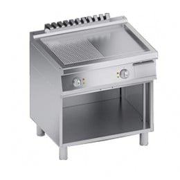 Piastra Fry top acciaio inox professionale elettrico 1/2 Liscio 1/2 Rigato in Acciaio Dolce + Vano