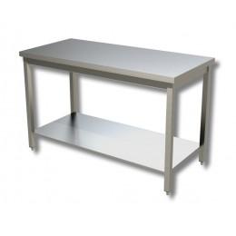 Tavolo su gambe in acciaio inox con piano di fondo profondità 600 mm 1400x600 mm